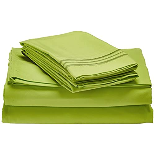 Elegant Comfort 1500 Thread Count Luxury Egyptian Quality Wrinkle And Fade  Resistant 4 Piece Sheet Set, Full, Lime Green