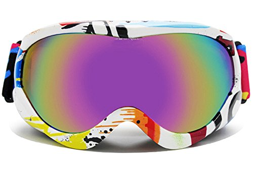 BeBeFun Junior Kids Youth Ski Goggles Anti Fog Lenses with Dual Lens For Girl and Boy Pink Rainbow Blue style-Graffiti