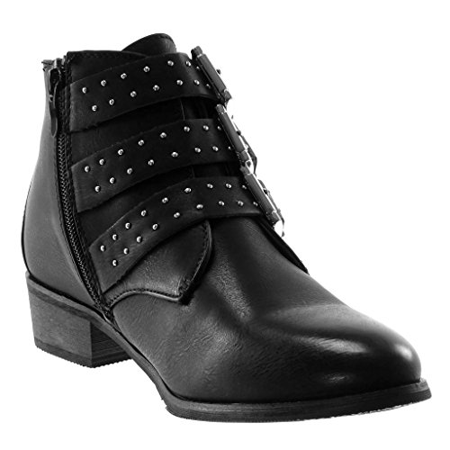 3 Buckle 5 Boots cm Black Heel Booty Shoes Biker Straps Multi Fashion Studded Women's Ankle Angkorly Block AnOwHRqq