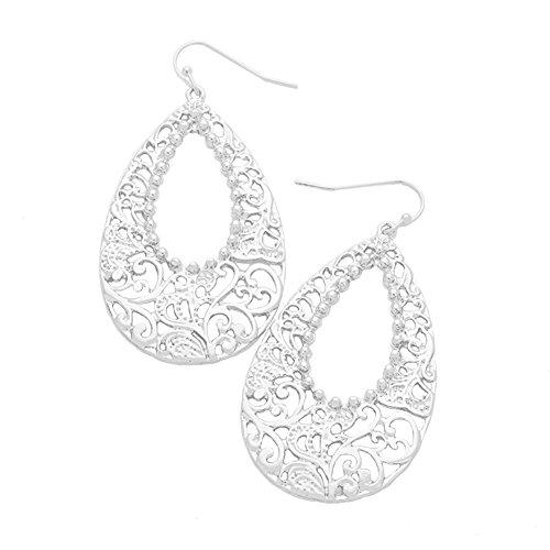 """Open Scroll Design Earrings - Extra Long Bright Silver-Tone Nouveau Look Open Work Lacy Filigree Teardrop Dangle Earrings 2 1/2"""""""