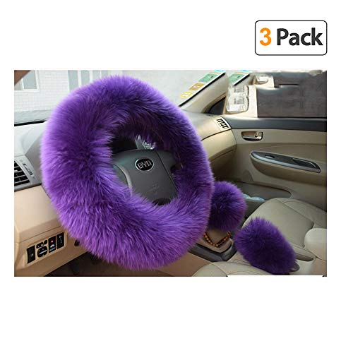 (Younglingn Car Steering Whieel Gear Shift Handbrake Fuzzy Cover 1 Set 3 Pcs with Winter Warm Pure Wool for Girl Universal Fit Most Car(Purple))