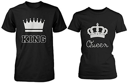 love Cute Matching Couple Shirts - King and Queen Black Cotton T-Shirt Set
