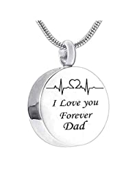 Dad Mom I Love You Forever Electrocardiogram Urn Necklace for Women Cremation Jewelry Memorial Necklace for Ashes
