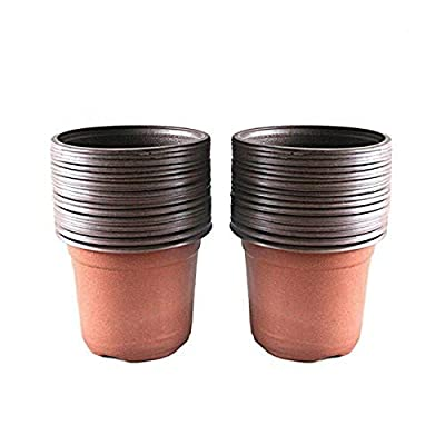 "KINGLAKE 50 Pcs 6"" Plastic Plants Nursery Seedlings Pot/Pots Flower Plant Container Seed Starting Pots: Garden & Outdoor"