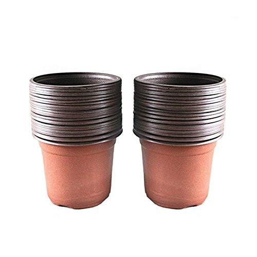 KINGLAKE 50 Pcs 6″ Plastic Plants Nursery Seedlings Pot/Pots Flower Plant Container Seed Starting Pots