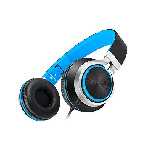 AILIHEN C8 Faltbar Kopfhörer mit Mikrofon und Lautstärkeregler on ear kopfhoerer für iPhone iPad iPod Android Smartphones PC Laptop Mac Mp3/mp4(Schwarz /Blau)