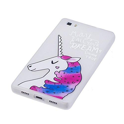 Funda Huawei P8 LITE,XiaoXiMi Carcasa de Silicona TPU Suave y Esmerilada Funda Ligero Delgado Carcasa Anti Choque Durable Caja de Diseño Creativo - Campanas de Viento Unicornio