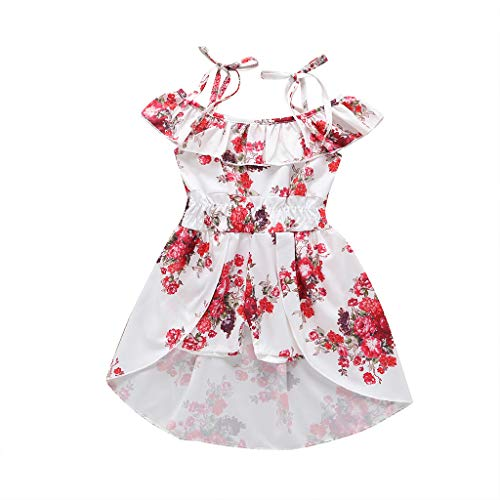 Girls Sleeveless Skirt Set - Toddler Girl Skirt Sets Bowknot Sleeveless Ruffle Floral Print Bohemian Casual Dress Sundress Summer Outfit Clothes for Beach 1-5T (White, 12-18 Months)