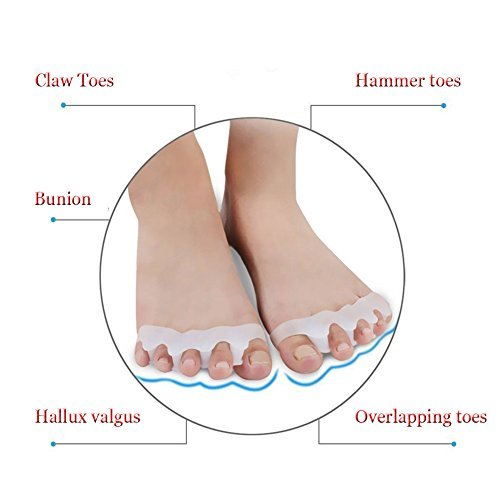 Toe Straightener In Shoe Toe Spacer Toe Stretchers for Women and Men - Eda House Gel Toe Separators for Foot Pain