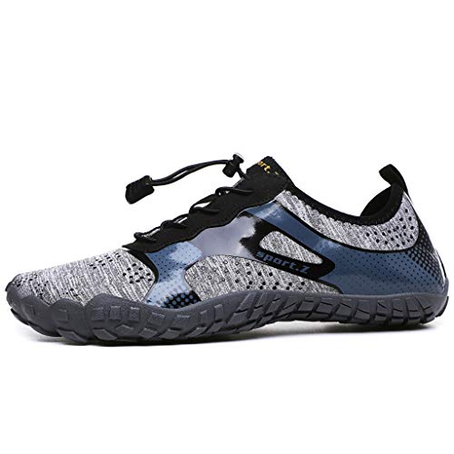 (Water Shoes for Men 2019 New Athletic Sport Shoes Quick-Dry Sock Outdoor for Kayaking,Boating,Hiking,Surfing,Walking (US:6.5, Gray))