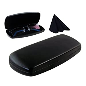 MyEyeglassCase Hard Eyeglass case with Microfiber Cleaning Cloth | for Medium Size Frames | For Men, Women & Teens | Protective Metal Clamshell | AS302 Black