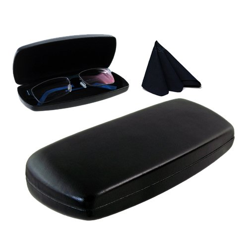 MyEyeglassCase Hard Eyeglass case with Microfiber Cleaning Cloth | for Medium Size Frames | For Men, Women & Teens | Protective Metal Clamshell | AS302 - Frames Eyeglass Different Of Types