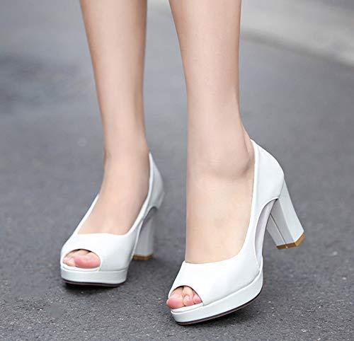 Mode Ouverte Bouche Mariage Mesh Blanc Sandales Chunky Femme Aisun Talon Rvqwg5