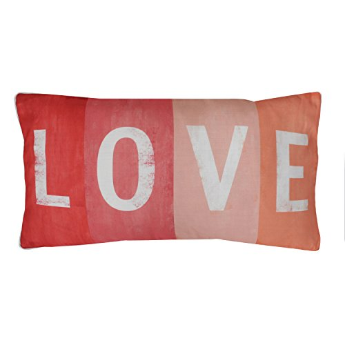1 Piece 12x27 Love Coral Colored Throw Pillow Decorative Rectangle Shaped Pink Peach White Letters Sayings Quotes Printed, Feather Filled Polyester