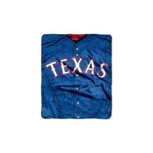 "MLB Texas Rangers Jersey Plush Raschel Throw, 50"" x 60"""