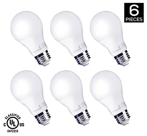 Long Life Standard Screw Base (HyperSelect 9W LED Light Bulb A19 E26, Non-Dimmable, LED Bulb [60W Equivalent], 3000K (Soft White Glow), 820 Lumens, Medium Screw Base, UL-Listed (Pack of 6))