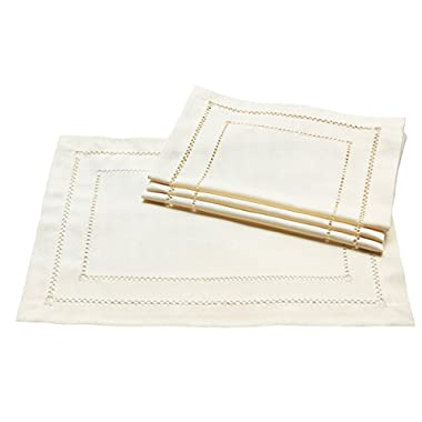 Xia Home Fashions Double Hemstitch Easy Care Placemats, 13 by 19-Inch, Ivory, Set of 4
