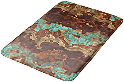 Viowr22iso Bath Rugs for Bathroom 40x60 Non Slip Brown Aqua Turquoise Green Geode Marble Pattern Bath Mat Bath Mat Washable Mat Coral Fleece Rug Water Absorbent Carpet