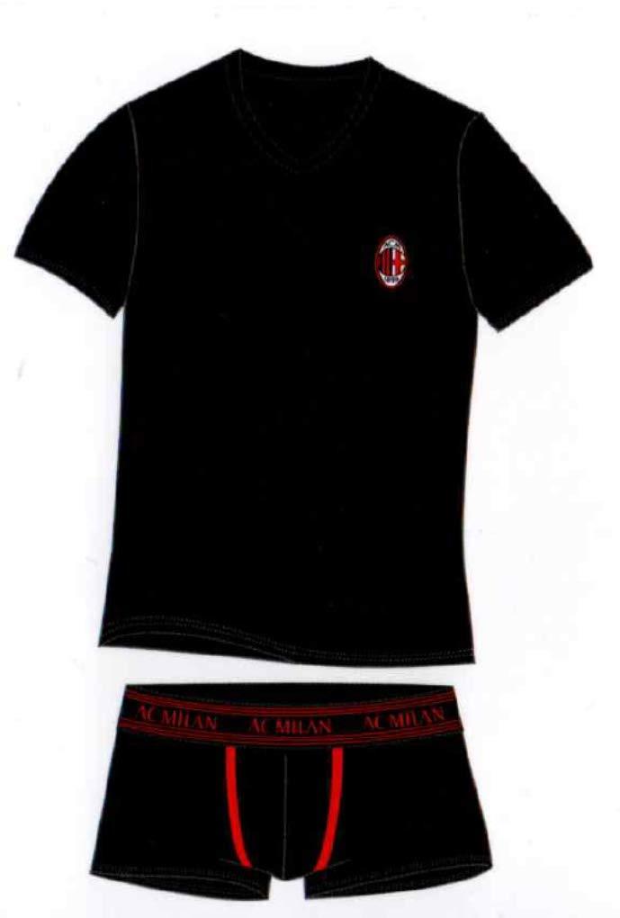 Milan Completo T-Shirt Boxer Ufficiale Bambino Ragazzo Anni 10 12 14 Intimo MI055NE