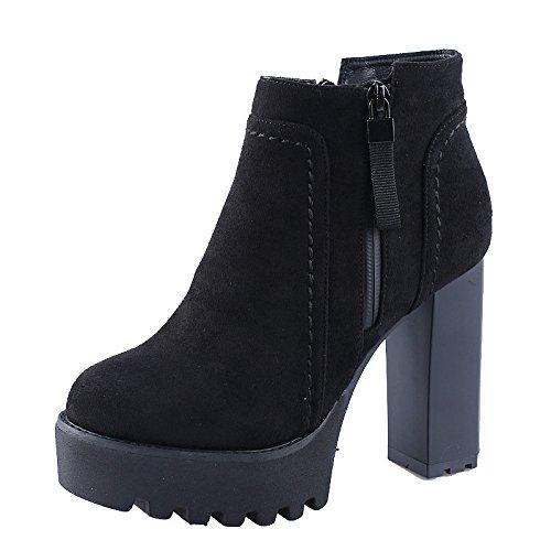 Botas El Y Y Zapatos Invierno Tacon De black KHSKX Martin Tacon Otoño Mujer Terciopelo Zipper 5Cm 10 Señaló Impermeabilizacion El Botas Alto Moda De Sexy Bruto Cortas tEwtTAxq