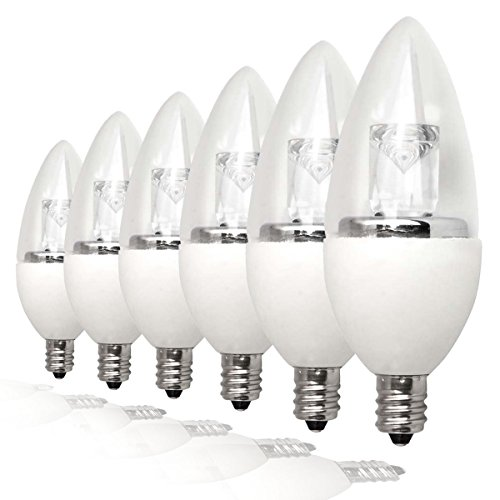 (TCP LDCT25W27K6 25W Equivalent LED Decorative Torpedo Light Bulbs, Small Candelabra Based, Energy Star Certified, Dimmable, Soft White (6 Pack) )
