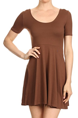 ICONOFLASH Juniors Short Sleeve Scoop Neck Fit and Flare Skater Dress (Mocha, (Brown Juniors Dress)