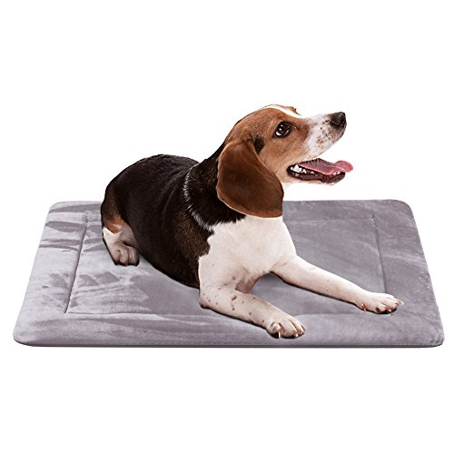 Dog Beds for Medium Dogs Crate Bed Mat 35 In- Washable Anti-Slip Soft Fleece Mattress Kennel Pads Luxury Color,Grey M