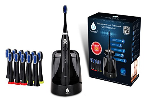 Cheap Pursonic S750 Sonic SmartSeries Electronic Power Rechargeable Battery Toothbrush with UV Sanitizing Function, Black, 1.5 Pound, Includes 12 Brush Heads
