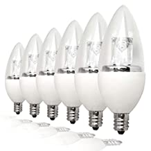 TCP 25W Equivalent LED Decorative Torpedo Light Bulbs, Small Candelabra Based, ENERGY STAR Certified, Dimmable, Soft White (6 Pack)