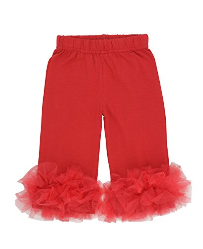 Bubby & Belle Infant Knit Pants w/Bottom Ruffles - Red - 12-18m - Knit Ruffle Pants