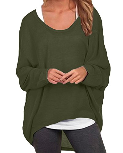 Cute Army Clothes (ZANZEA Women's Sexy Long Batwing Sleeve Loose Pullover Casual Top Blouse T-Shirt Army Green US 12/Tag Size)