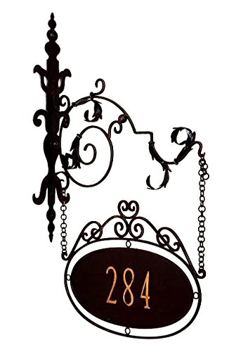 Personalized Iron Address Sign | House Number Wall Bracket Outdoor 5 Digit