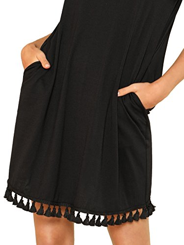 Short Tunic Pocket Loose Dress Summer Casual Sleeve Women's Black Romwe Tassel UxXaTq5w