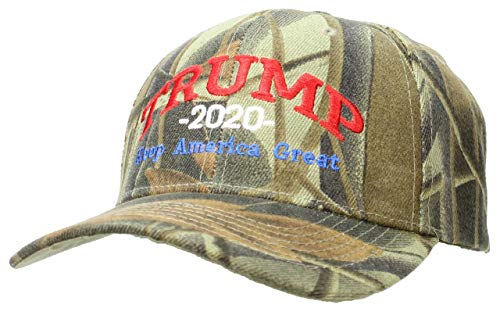 Tropic Hats Adult Embroidered Trump 2020 Keep America Great Campaign Cap - Hardwoods Camo W/RWB Thread