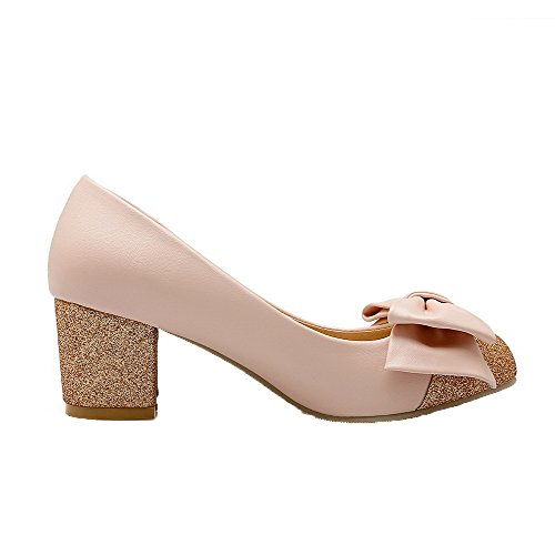 Round On Heels WeiPoot Kitten Assorted PU Color Toe Women's Shoes Pumps Pull Pink xxBOqYa