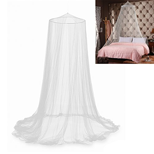 Big Save! Bluecookies Round Hoop Bed Canopy Mosquito Net for Fit Crib, Twin, Full, Queen, King (Whit...