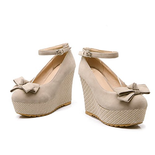 Round Solid Beige Shoes WeenFashion Toe Closed Heels Pumps Women's High Buckle 60q540