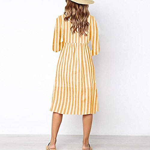 Fashion Womens Casual Long Sleeve v-Neck Striped Print Button Dress Classic Stripe Elegant Regular with Pockets New Clothes Women Sexy Evening Party Beach ...