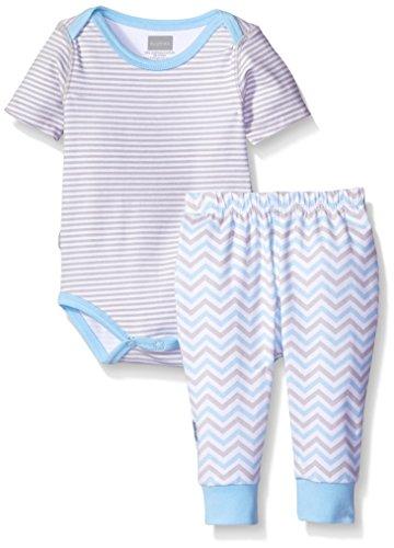 Kushies Boys' Baby Short Sleeve Bodysuit and Pant Set, Grey, 3m