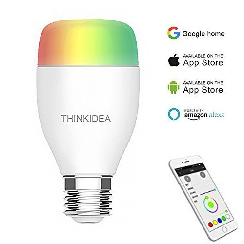 Wifi Smart Light Bulb,THINKIDEA Intelligent Lights,Dimmable LED Light,Multicolored LED Bulbs,With 6W Color Changing Dimmable LED Bulbs,Compatible With Amazon Alexa Echo and Google Home by THINKIDEA
