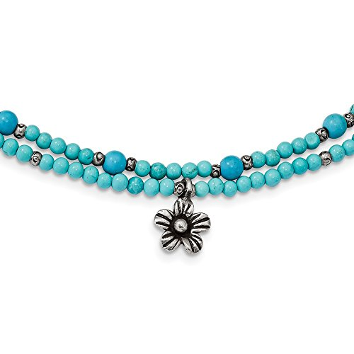 4.2mm Sterling Silver Howlite Recon. Magnesite 2-strand Flower With 2inch Ext. Necklace - 18.5 Inch