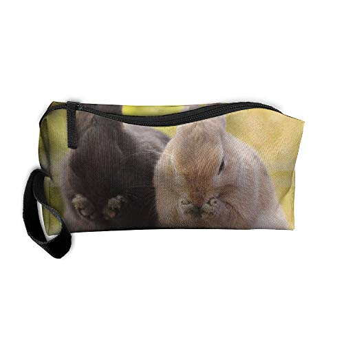 Jessent Coin Pouch Rabbit Pen Holder Clutch Wristlet Wallets Purse Portable Storage Case Cosmetic Bags Zipper ()