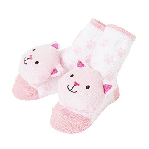 Baby Dumpling C.R. Gibson Cat Rattle Sock Booties for Newborns, Infants, and Babies - 1 Pair
