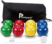 Pointyard 100mm Bocce Ball Set, Regulation Bocci Ball Set with 8 PE Bocce Balls/1 Pallino/Carrying Bag/Measuri