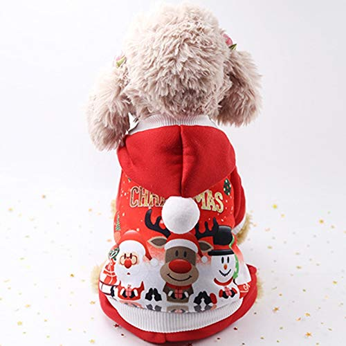Cowmole Co. Christmas Dog Clothes Winter Pet Clothes for Small Dog Coat Jacket Costume Hoodies Warm Cat Santa Claus Christmas Pet Apparel 93