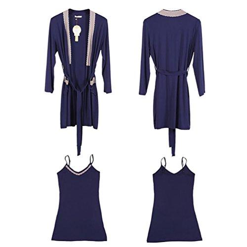 CHUNHUA La Sra modal manga larga de punto de dos piezas de baño vestido (tres opciones de color) , white female , l (160/84a) female navy