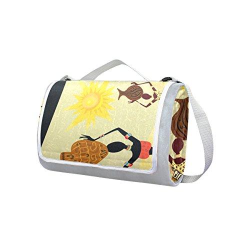 COOSUN Afrika Deko Picknick Decke Tote Handlich Matte Mehltau resistent und wasserfest Camping Matte für Picknicks, Strände, Wandern, Reisen, Rving und Ausflüge
