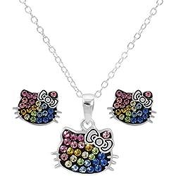 Hello Kitty - Juego de Joyas para Mujer y niña, Plata de Ley con Colgante de Vidrio arcoíris y Arete de Tuerca, Cadena DE 45,7 cm
