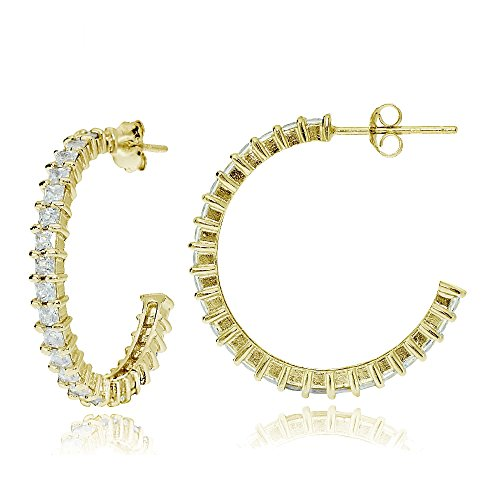Yellow Gold Flash Sterling Silver Square Cubic Zirconia Half Hoop Earrings, 25mm