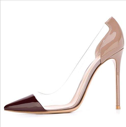 Ruanlei Wine Heels con tacco a Tacco ed High Scarpe ScarpeWild alto red Scarpe donna for leather eleganti patent Medio Wedding Scarpe Lavoro Lavoro Eleganti RrR50wq